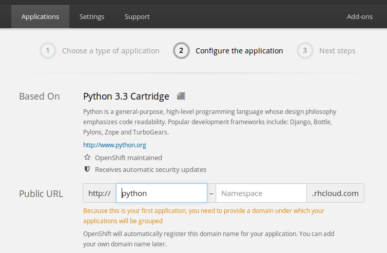 openshift-app-configuration-screen-1