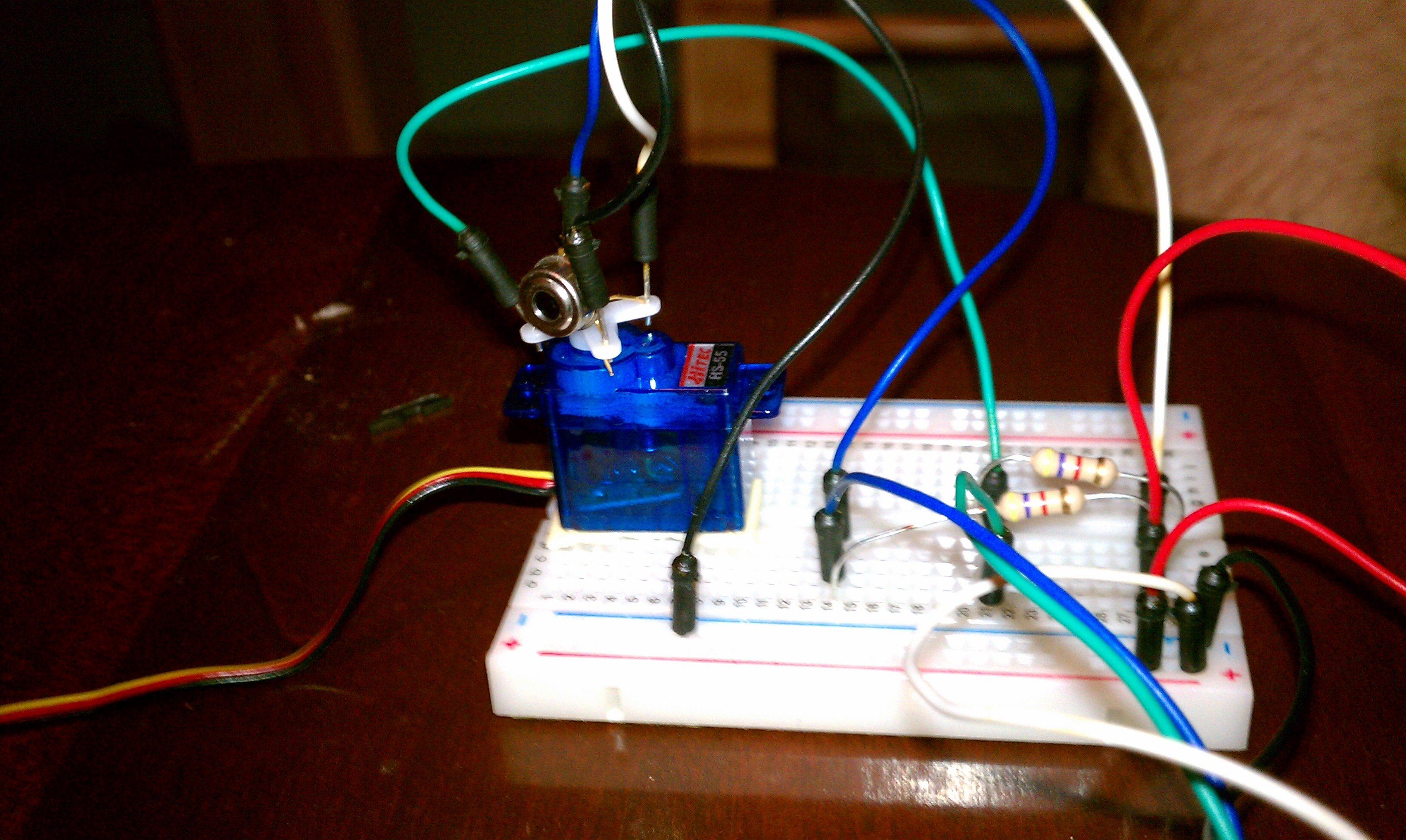 Servo and IR Thermometer Mounted on Breadboard